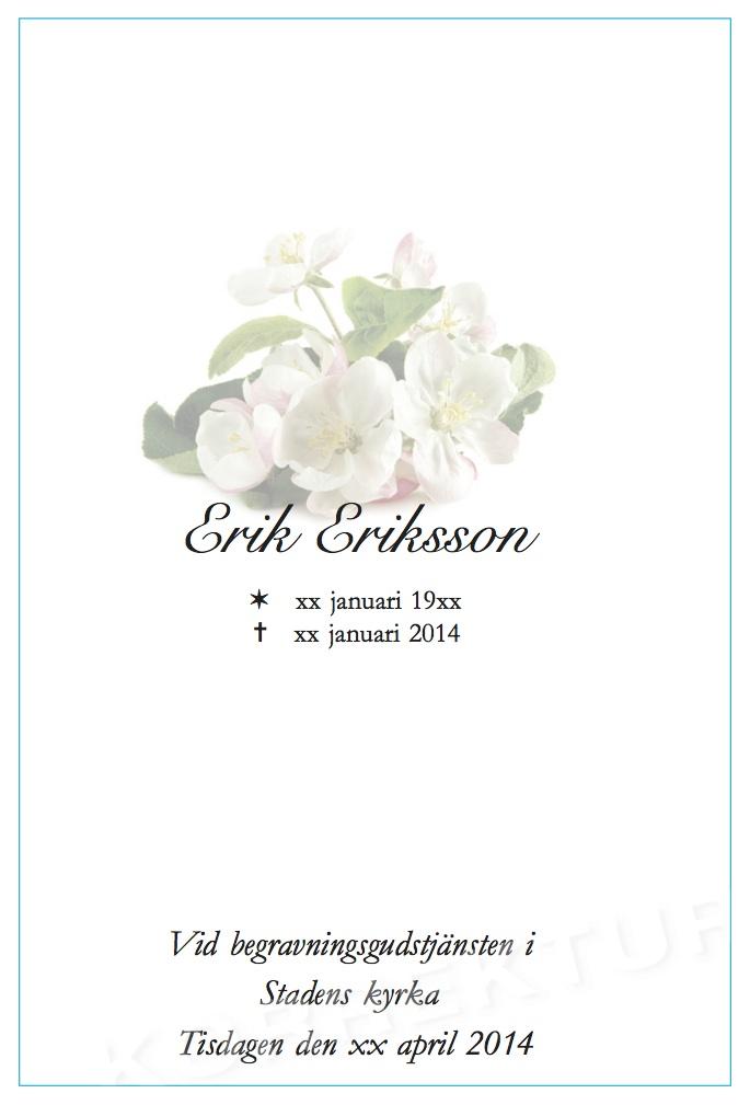 Dubbla programblad - Funera Begravningsbyrå